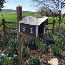 Load image into Gallery viewer, Durable and Beautiful Barn Style Mailbox | Cherry Box with White Trim | Poly Lumber | E250