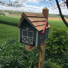 Load image into Gallery viewer, Gray Wooden Mailbox | Barn Amish Made | SS001