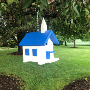 Easy Clean-Out Poly Church Birdhouse | Blue Roof | PC001