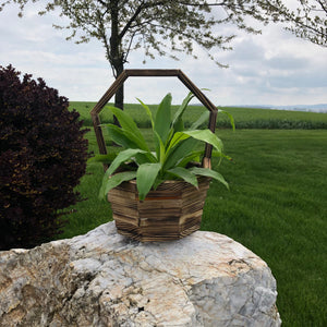 Wooden Basket Planter with Stacked Log Design