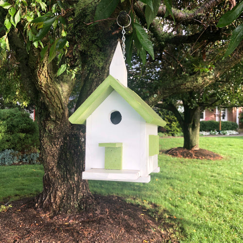 Poly Church Birdhouse | Made from Recycled Plastics | Lime Colored Roof | PC001
