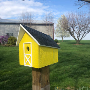 Easy to Clean Wooden Birdhouse | Free Shipping | Rustic Amish Outdoor Decor | K0006
