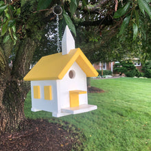 Load image into Gallery viewer, Easy Clean-Out Poly Church Birdhouse | Yellow Roof | PC001