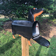 Load image into Gallery viewer, Black and Tan Dachshund Mailbox| Wiener Dog | Unique Dog Mailbox | pp001