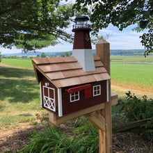 Load image into Gallery viewer, Barnegat Lighthouse Mailbox | Wooden Mailbox | Solar Lighthouse | SS1001
