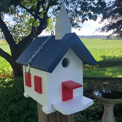 Easy Clean-Out Poly Church Birdhouse | Blue Roof and Red Trim | PC001