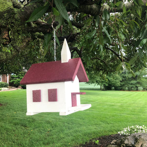 Easy Clean-Out Poly Church Birdhouse | Cherry Colored Roof | PC001