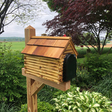 Load image into Gallery viewer, Log Cabin Mailbox with Cedar Shake Roof and Stone Chimney | Metal Box | Free Shipping | CL1001