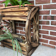 Load image into Gallery viewer, Two Tiered Wooden Planter with Wagon Wheels | LL002