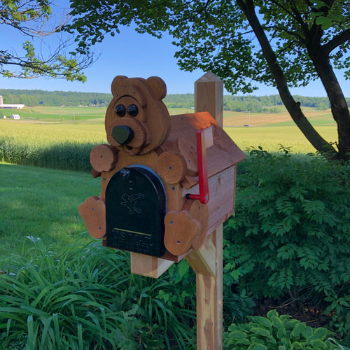 Adorable Bear Mailbox | Metal Box Insert | Made with Reclaimed Wood | B1002
