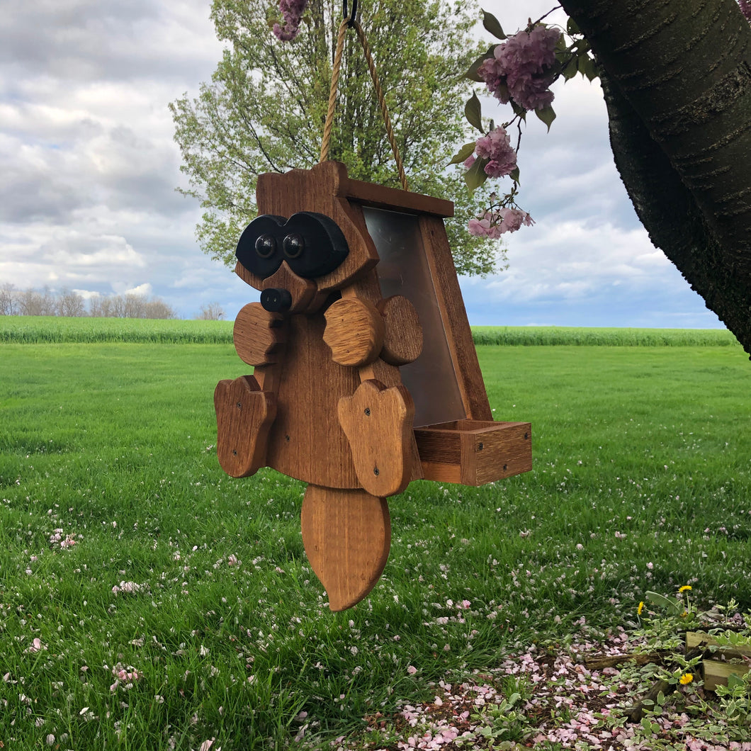 Raccoon Bird Feeder | Hand Made from Reclaimed Wood | BF29