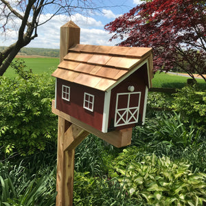 Red Wooden Mailbox | Barn Amish Made | SS001