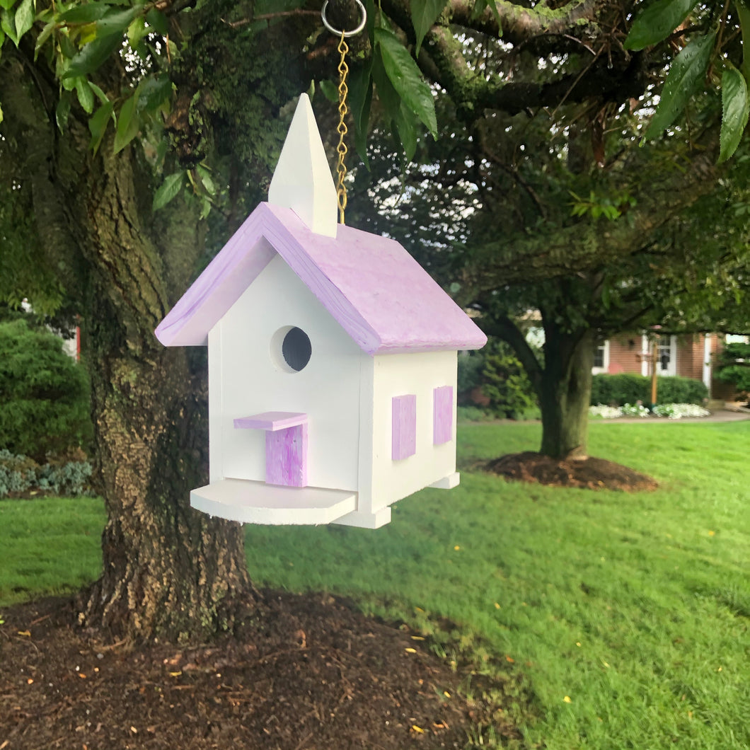 Wren Birdhouse | Easy to Clean Church Birdhouse | Purple Marbled Roof