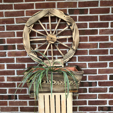 Load image into Gallery viewer, Wooden Planter with Wagon Wheel