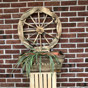 Wooden Planter with Wagon Wheel