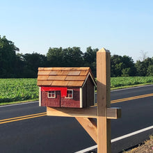 Load image into Gallery viewer, Wooden Amish Barn Mailbox | Cedar Roof | Unique Rustic Outdoor Decor | K1000