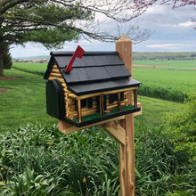 Load image into Gallery viewer, Wooden Mailbox  | Log Cabin with Porch | Amish Made | CL620