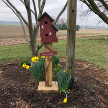 Load image into Gallery viewer, Birdhouse Welcome Sign | Red Birdhouse | Garden Décor from Reclaimed Materials | SMBHP3