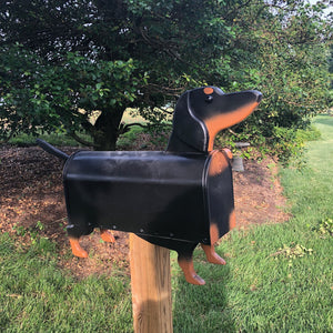 Black and Tan Dachshund Mailbox| Wiener Dog | Unique Dog Mailbox | pp001