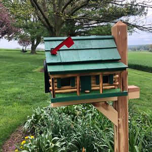 Wooden Log Cabin with Porch Mailbox  | Amish Made