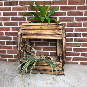 Two Tiered Wooden Planter with Wagon Wheels | LL002