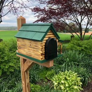 Wooden Log Cabin with Porch Mailbox  | Amish Made | CL620