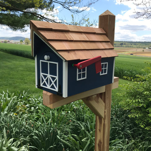 Blue Wooden Mailbox | Barn Amish Made | SS001