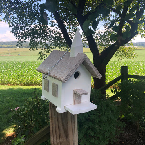 Poly Church Birdhouse | Super Simple to Clean Birdhouse | Tan Marbled Roof
