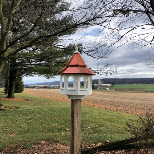 Bird Feeder | Large Gazebo with Copper Roof | Post Mount | EW-BWCF