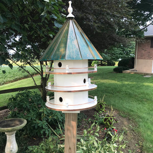 Extra Large Bird House with 6 Apartments | Copper Patina Roof | Birdhouse | EW-6HVCD