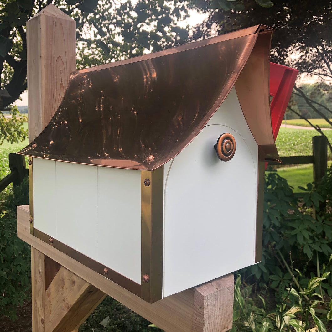 Stunning Mailbox with Copper Roof | Durable Vinyl Mailbox | EW-MBCV