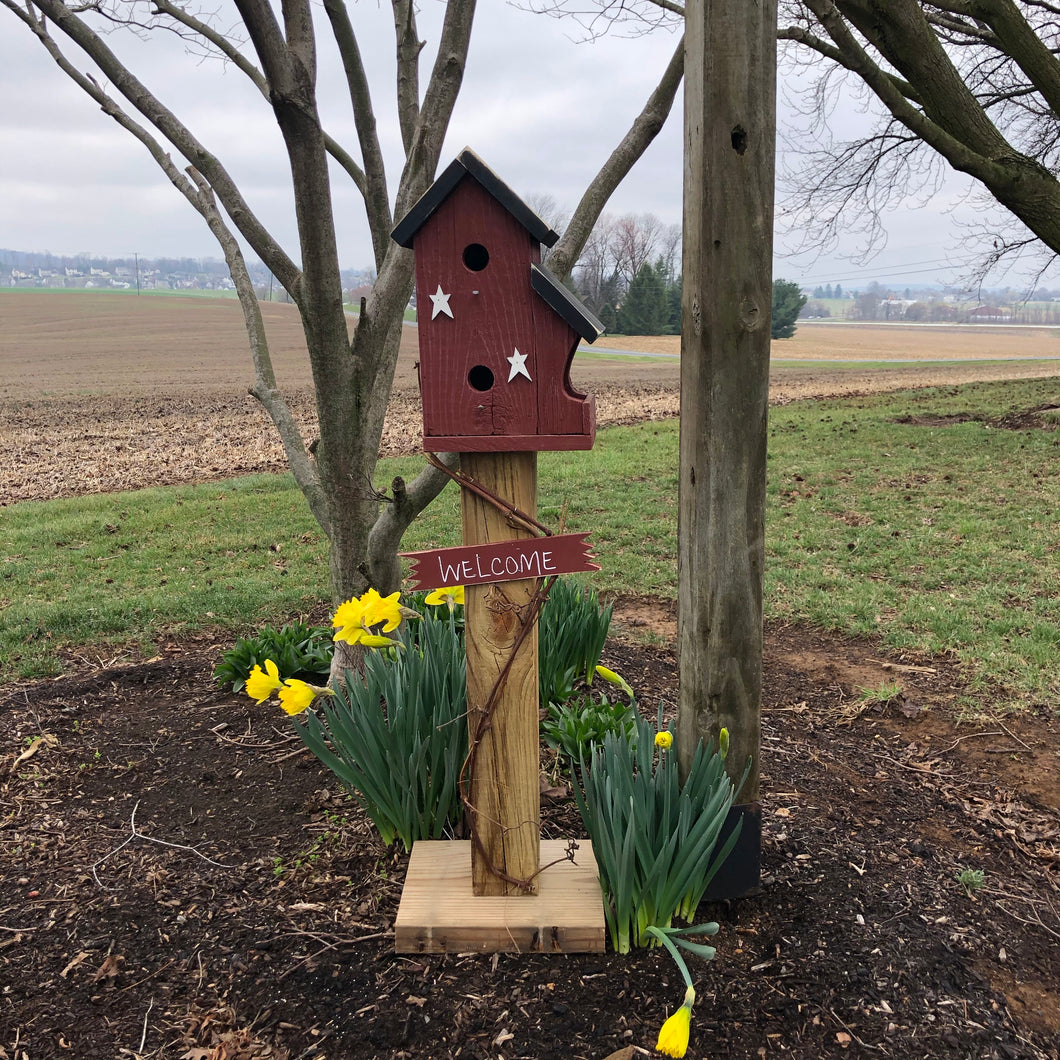 Birdhouse Welcome Sign | Red Birdhouse | Garden Décor from Reclaimed Materials | SMBHP3