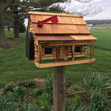 Load image into Gallery viewer, Amish Made Wooden Mailbox  | Log Cabin with Porch | Amish Made | CL620