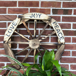 Wooden Planter with Wagon Wheel with Love, Joy, Peace Sign