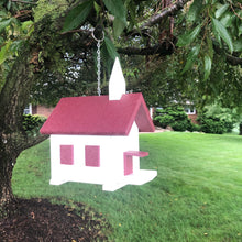 Load image into Gallery viewer, Easy Clean-Out Poly Church Birdhouse | Cherry Colored Roof | PC001