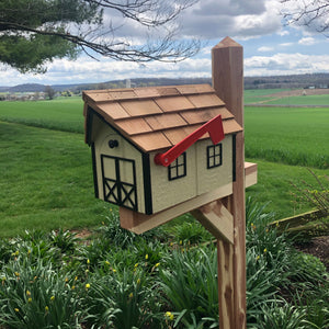 Wooden Mailbox with Cedar Roof  | Amish Barn | K1000