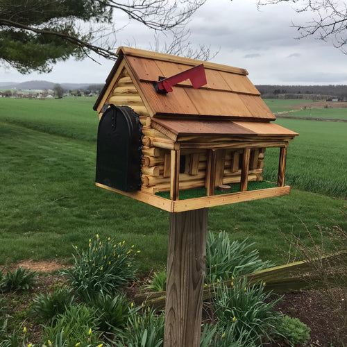 Amish Made Wooden Mailbox  | Log Cabin with Porch | Amish Made | CL620