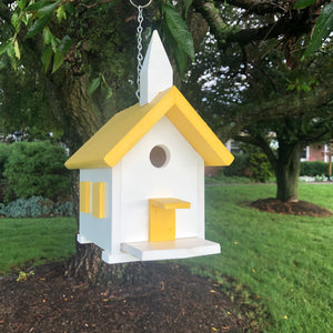Easy Clean-Out Poly Church Birdhouse | Yellow Roof | PC001