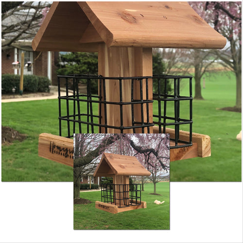 Set of Two Double Suet Bird Feeders | Made from Cedar Wood
