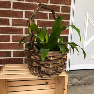 Wooden Basket Planter with Staggered Log Design