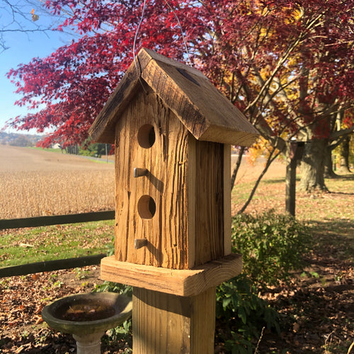 Rustic Two Story Birdhouse | Two Holes | Hand Made from Reclaimed Wood | RBH32