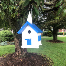 Load image into Gallery viewer, Easy Clean-Out Poly Church Birdhouse | Blue Roof | PC001