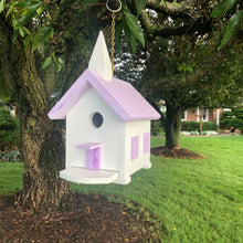 Load image into Gallery viewer, Wren Birdhouse | Easy to Clean Church Birdhouse | Purple Marbled Roof