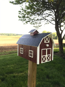 Traditional Barn Style Mailbox | Unique Rustic Outdoor Decor | K0002