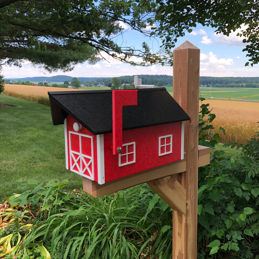 Durable Poly Lumber Barn Style Mailbox | Red Box with White Trim and Black Roof