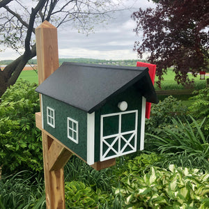 Durable Poly Lumber Barn Style Mailbox | Green Box with White Trim and Black Roof