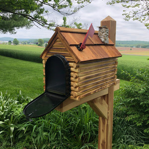 Log Cabin Mailbox with Cedar Shake Roof and Stone Chimney | Metal Box | Free Shipping | CL1001