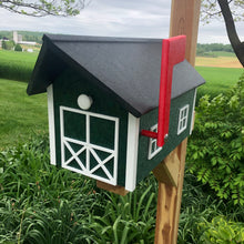 Load image into Gallery viewer, Durable Poly Lumber Barn Style Mailbox | Green Box with White Trim and Black Roof | E250