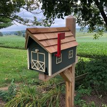 Load image into Gallery viewer, Sage Green Wooden Mailbox with Cream Color Trim | Barn Amish Made | SS001
