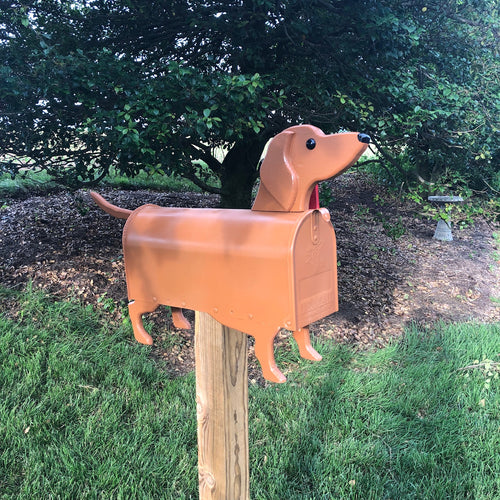 Red Dachshund Mailbox| Wiener Dog | Unique Dog Mailbox